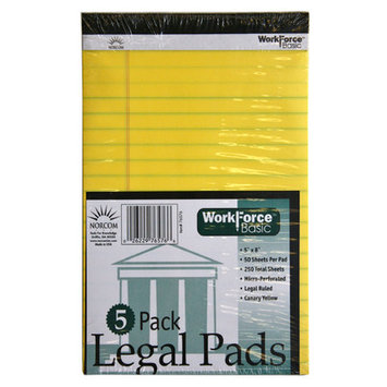 Norcom, Inc Norcom Inc 76576-12 5in X 8in Canary 50 Sheet Legal Pads 5 Count