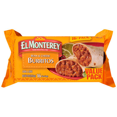 El Monterey® Bean and Cheese Burritos 16 ct Bag