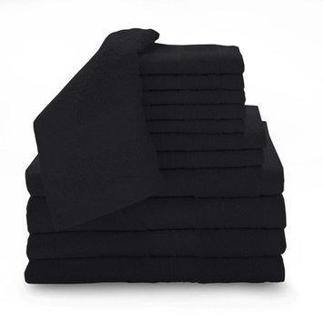 Luxury Home 12 Piece Super Plush Egyptian Cotton Towel Set, Ebony