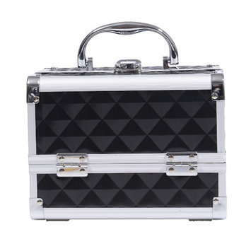 Soozier 3 Tier Diamond Texture Makeup Train Case Color: Black