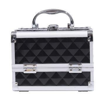 Soozier 3 Tier Diamond Texture Makeup Train Case Color: Black