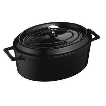 Lava Cookware Signature Enameled Cast-Iron Oval Dutch Oven, 5-qt, Black Obsidian