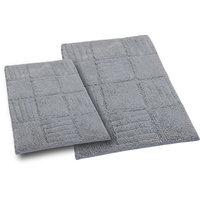 Textile Decor Castle 2 Piece 100% Cotton Chakkar Board Spray Latex Bath Rug Set, 30 H X 20 W and 40 H X 24 W