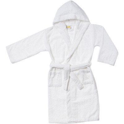 Simple Luxury Egyptian Cotton Kids Hooded Bathrobe, Small/Medium, White