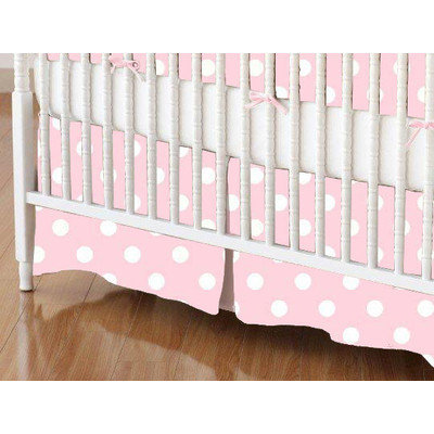 Stwd Pastel Polka Dots Woven Crib Skirt Color: Pink