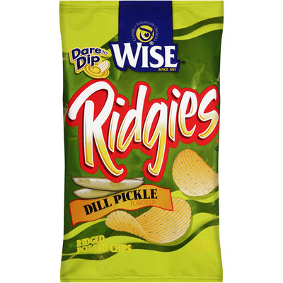 Wise® Ridgies® Dill Pickle Flavored Ridged Potato Chips 4.5 oz. Bag