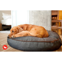 PLAY Denim and Brown Round Dog Bed Medium