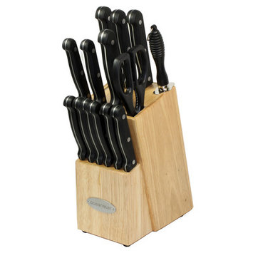 Oceanstar Traditional 15-Piece Knife Set with Block, Natural