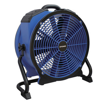Xpower Professional HI-TEMP Axial Fan with Built-In Power Outlets and 3-Hour Timer