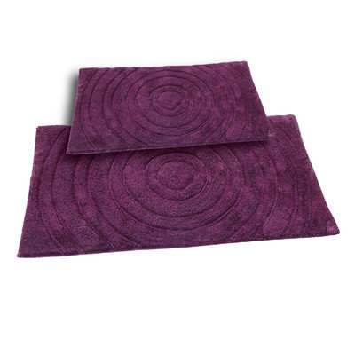 Textile Decor Castle 2 Piece 100% Cotton Echo Spray Latex Bath Rug Set, 34 H X 21 W and 40 H X 24 W, Aubergine