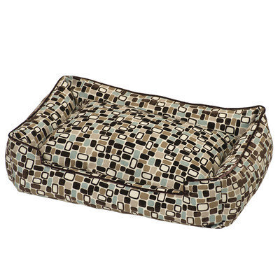 Jax And Bones Flocked Lounge Bolster Dog Bed Size: Small (24