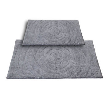 Textile Decor Castle 2 Piece 100% Cotton Echo Spray Latex Bath Rug Set, 24 H X 17 W and 40 H X 24 W, Silver