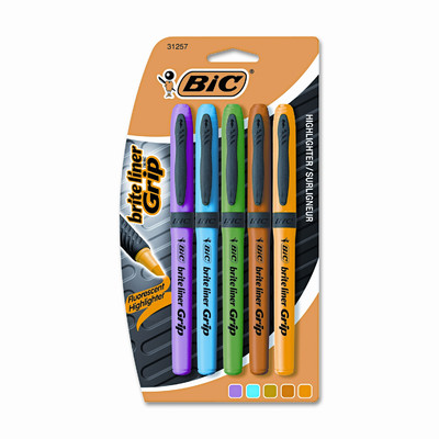 BIC Corporation Brite Liner Grip Highlighter, Chisel Tip, 5/ST, Assorted
