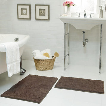 Resort Collection Chenille Plush 2 Piece Bath Mat Set, Mocha