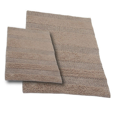 Textile Decor Castle 2 Piece 100% Cotton Wide Cut Reversible Bath Rug Set, 24 H X 17 W and 34 H X 21 W