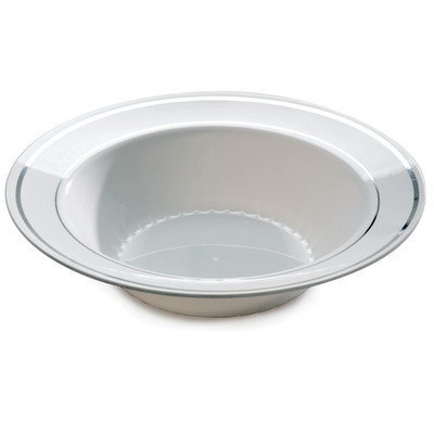 Fineline Settings, Inc Silver Splendor Bowl (Pack of 120), White with Silver Accent