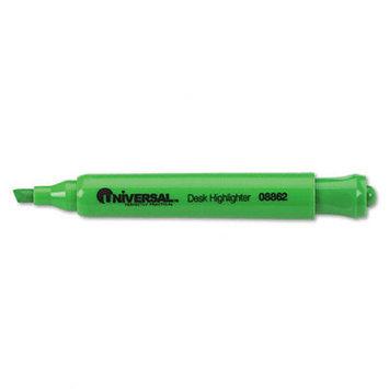 Universal 08862 Desk Highlighter- Chisel Tip- Fluorescent Green- 12/Pk