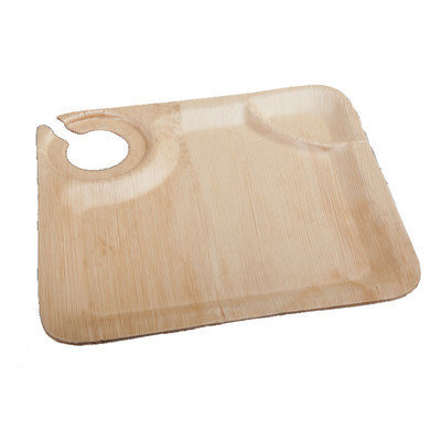 Restaurantware Bamboo Leaf Cup Holder Plate (50 Count)