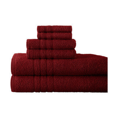 Charlton Home Egyptian Quality Cotton 6 Piece Towel Set Color: Ruby