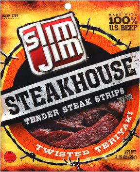 Slim Jim® Steakhouse™ Twisted Teriyaki Tender Steak Strips 3.15 oz. Bag