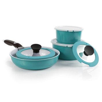 Neoflam 52102 9 Piece Midas Plus Emerald Green Cast Aluminum Cookware Set