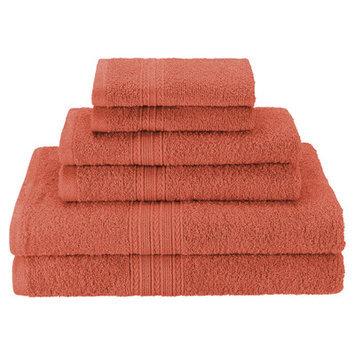 Simple Luxury Superior 6-Piece Towel Set, Coral
