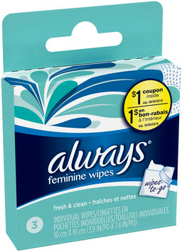 Wipes Always Feminine Wipes Fresh & Clean Scent Individually Wrapped 3 Count