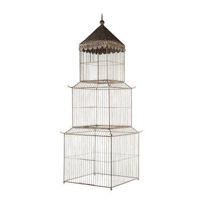Mwcbk Vintage Ivory Birdcage Pedestal