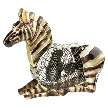 Deco Breeze Zebra Figurine Table Top Fan