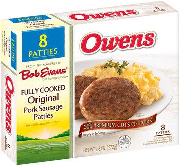 Owens® Fully Cooked Original Pork Sausage Patties 9.6 oz. Box