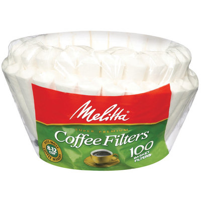Melitta® White Paper Basket Coffee Filters, 8-12 Cups, 100 count