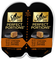 Sheba® Perfect Portions® Chicken & Liver Entree Pate Premium Cat Food 2-1.3 oz. Cups