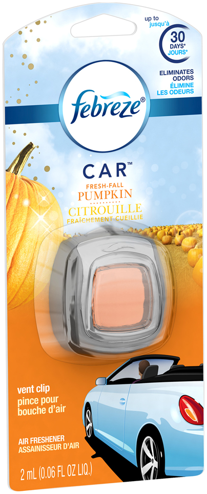Febreze CAR Vent Clip Fresh Fall Pumpkin Air Freshener (1 Count, 0.06 oz)
