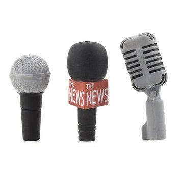 Kikkerland 3 Piece Microphone Eraser Topper Set (Set of 12)