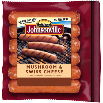 Johnsonville Mushroom & Swiss Cheese Smoked Sausage 14oz zip pkg (101722)