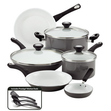 Meyer Corporation Farberware PURECOOK(tm) Ceramic Nonstick Cookware 12-Piece Cookware Set, Gray