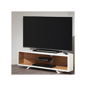 Techlink DL115SWLO Satin White & Light Oak Corner TV Stand.
