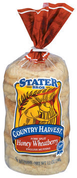 Stater Bros. Fork Split Honey Wheatberry English Muffins 6 Ct Bag