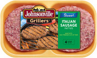 Johnsonville Grillers Sweet Italian Sausage Patties 16oz 4ct tray (102146)