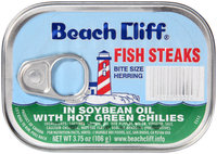 Beach Cliff® Fish Steaks in Soybean Oil with Hot Green Chilies 3.75 oz. Tin