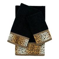 Sherry Kline Panthera Embellished 3 Piece Towel Set Color: Black