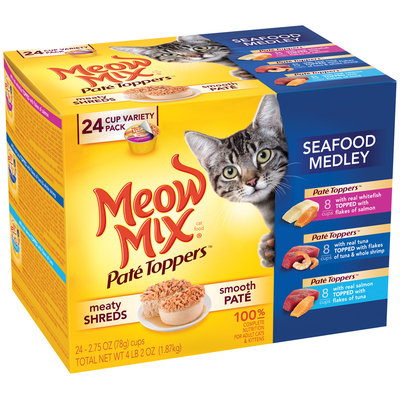 Meow Mix Pate Toppers Seafood Medley Wet Cat Food Variety Pack, 24-2.75 oz. Cups