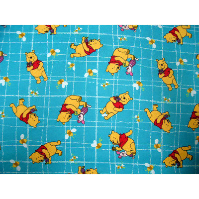Stwd 3 Piece Pooh Grid Sheet Crib Bedding Set