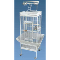 Aosom Pawhut Play Top Large Bird Cage w/ Stand and Wheels - White Vein