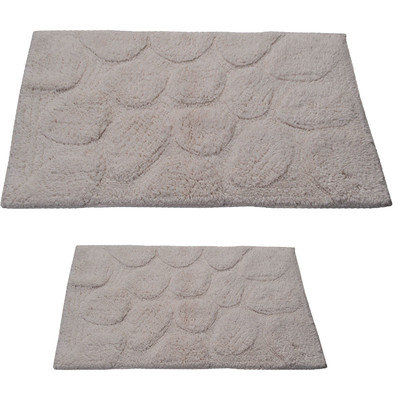 Textile Decor Castle 2 Piece 100% Cotton Palm Spray Bath Rug Set, 24 H X 17 W and 30 H X 20 W, Ivory