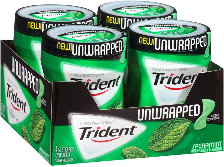Trident Unwrapped Spearmint Sugar Free Gum with Xylitol 4-50 Stick Bottles