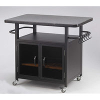 The Outdoor Greatroom Company Bistro 24 Cabinet with 36 Granite Top and Black Glass Doors