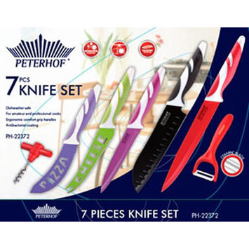 Peterhof Usa 7 Piece Rainbow Antibacterial/Ergonomic Non-Stick Knife Set