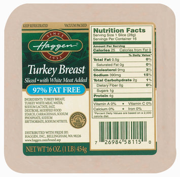 Haggen Sliced W/White Meat 97% Fat Free Turkey Breast