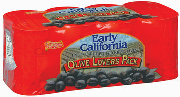 EARLY CALIFORNIA Extra Large Pitted Ripe Olive Lovers Pack 8 PK CANS